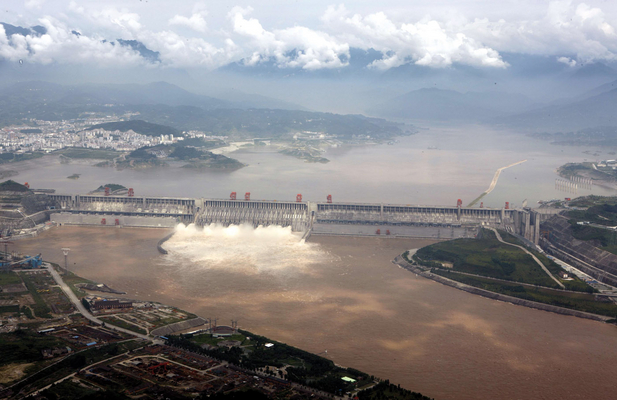 China - Three Gorges Dam on the Yangtze River - Aerial view